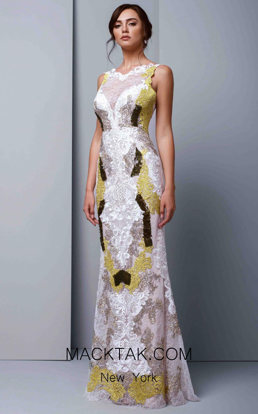 Beside Couture 1341 White Lime Front Dress