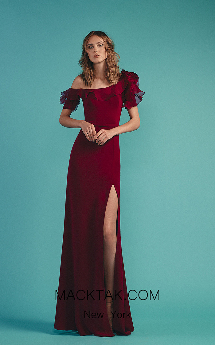 Beside Couture by Gemy Maalouf BC1515 Purple Front Dress