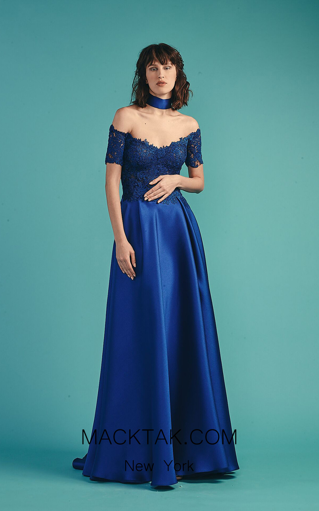 Beside Couture by Gemy Maalouf BC1523 Royal Blue Front Dress