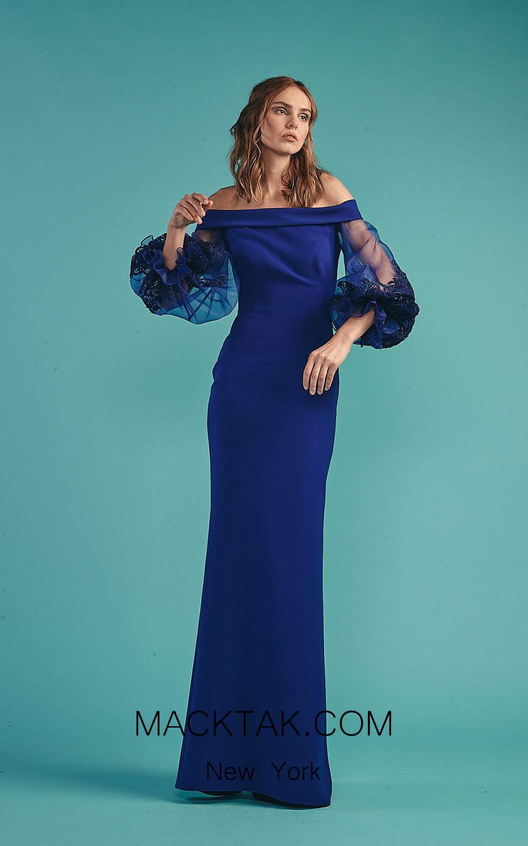 Beside Couture by Gemy Maalouf BC1524 Royal Blue Front Dress