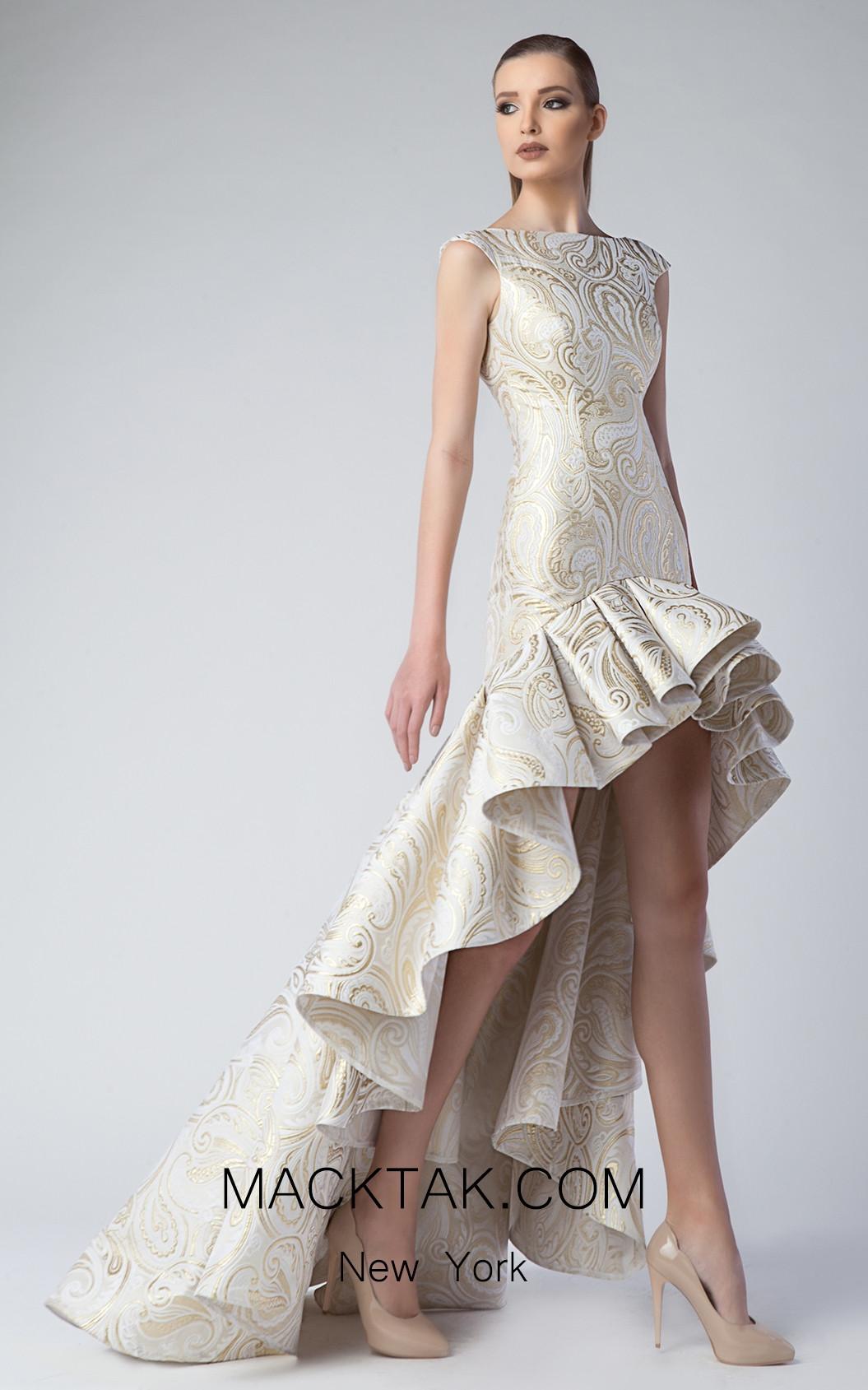 Edward Arsouni FW0228 Gold Front Dress