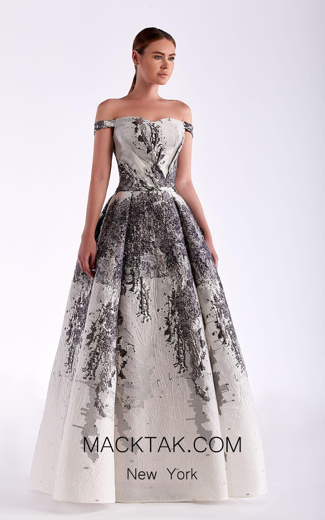 Edward Arsouni SS0466 White Silver Front Dress
