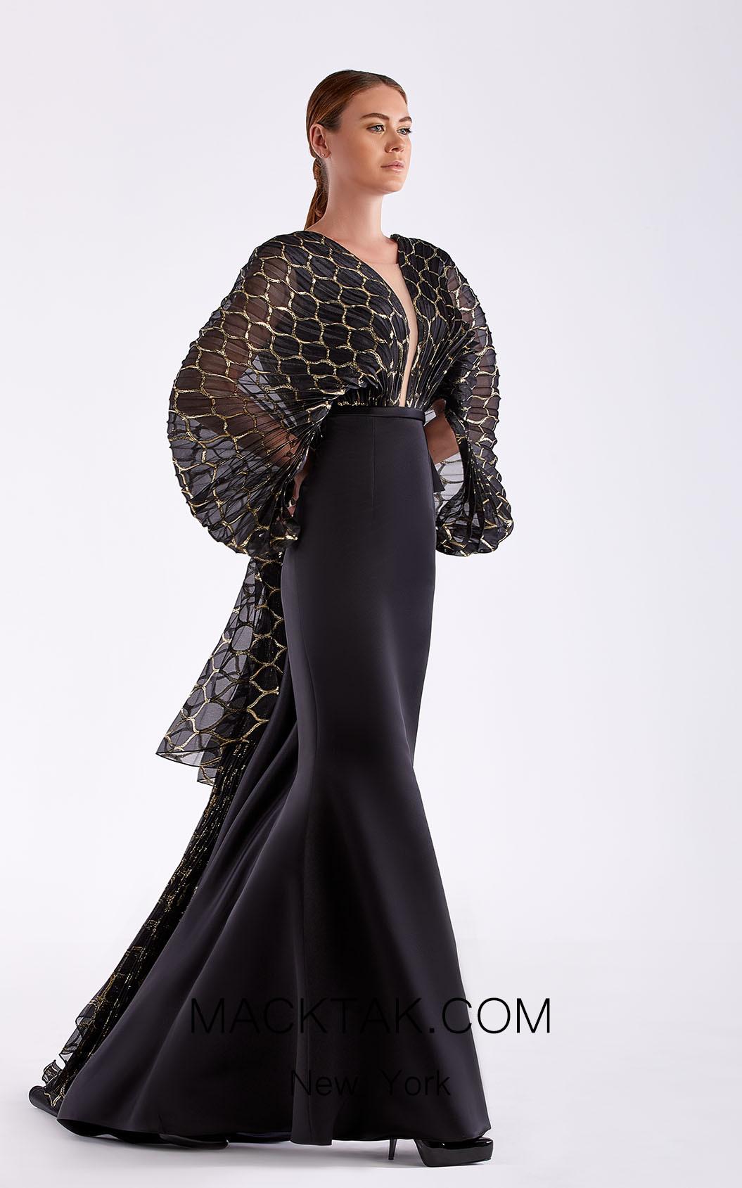 Edward Arsouni SS0486 Black Gold Front Dress