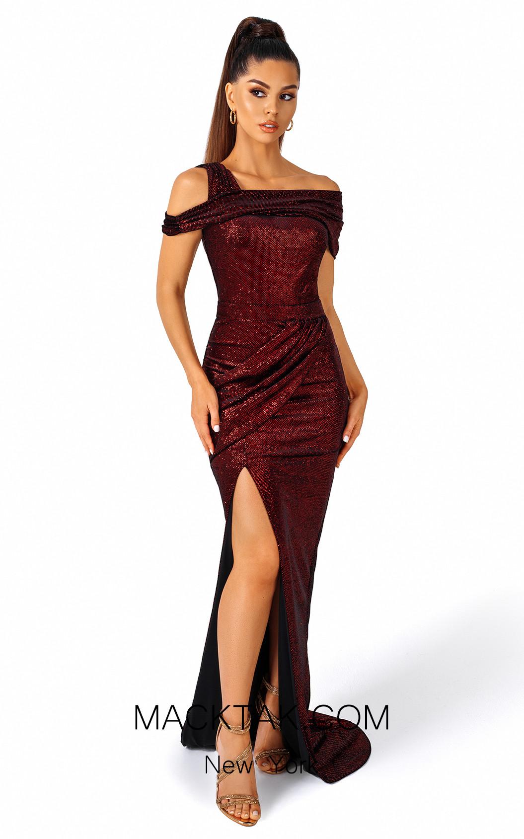 Evaje 10076 Burgundy Black Front Dress
