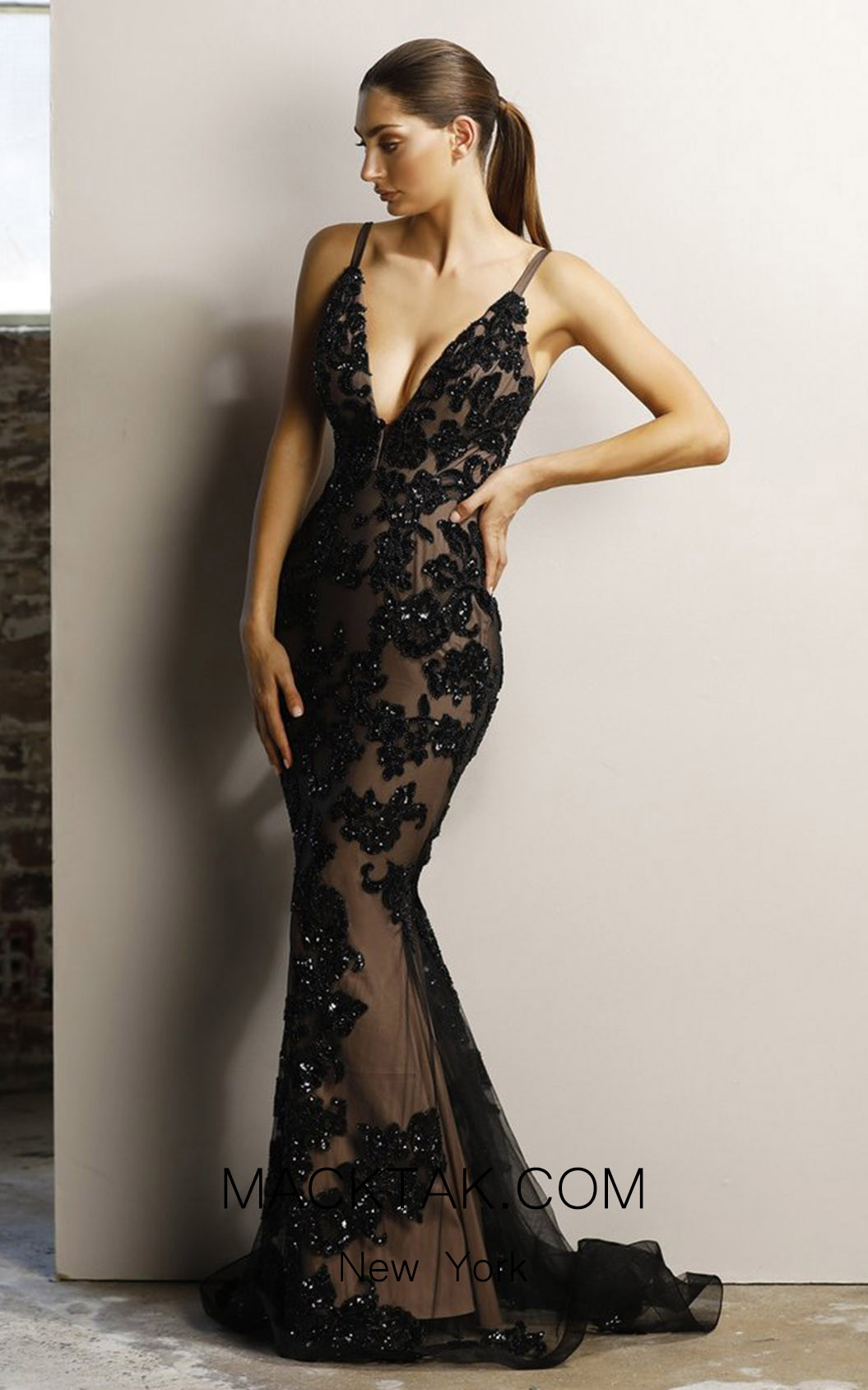 Jadore JX1106 Black Nude Front Dress