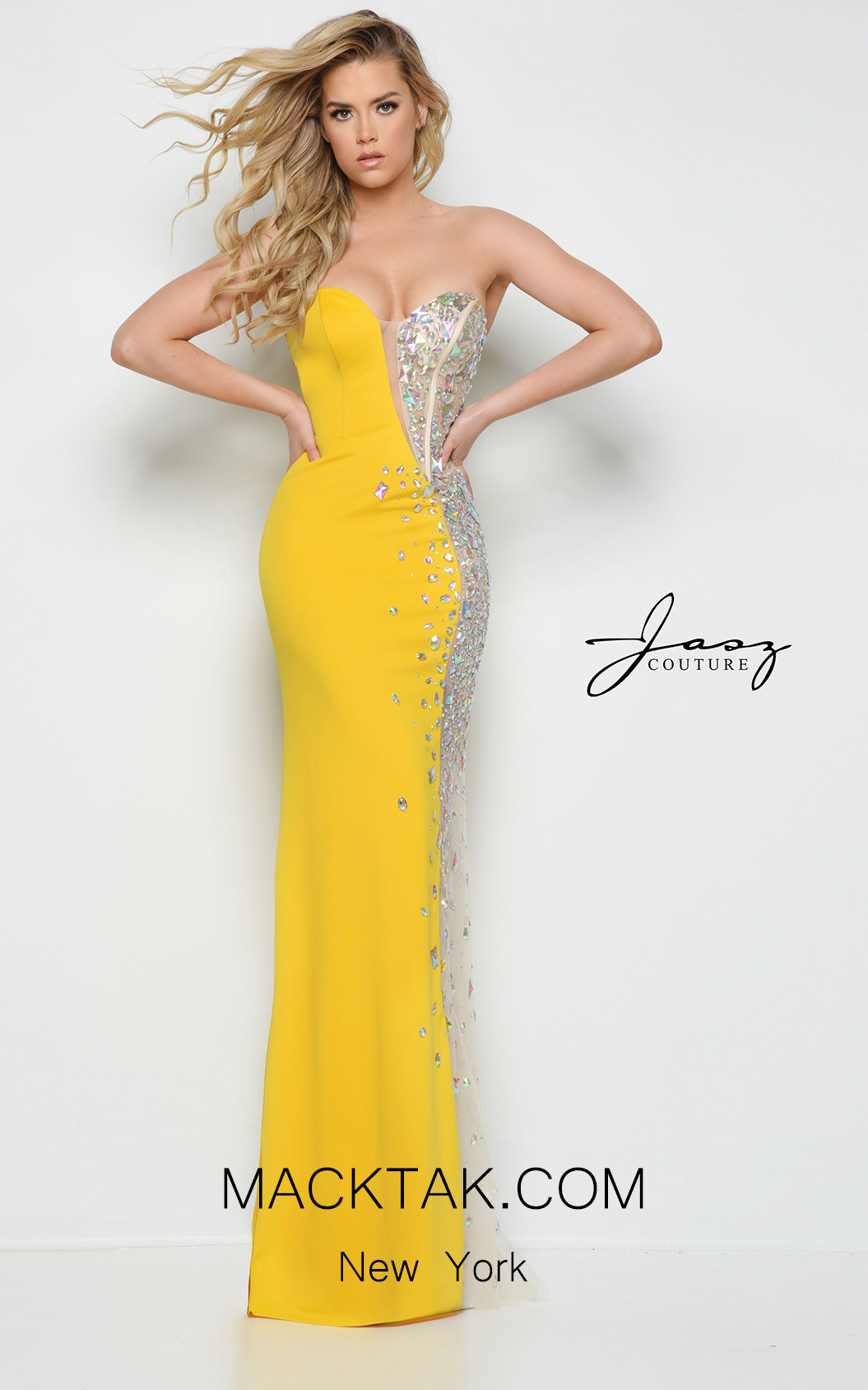 Jasz Couture 7007 Yellow Front Dress