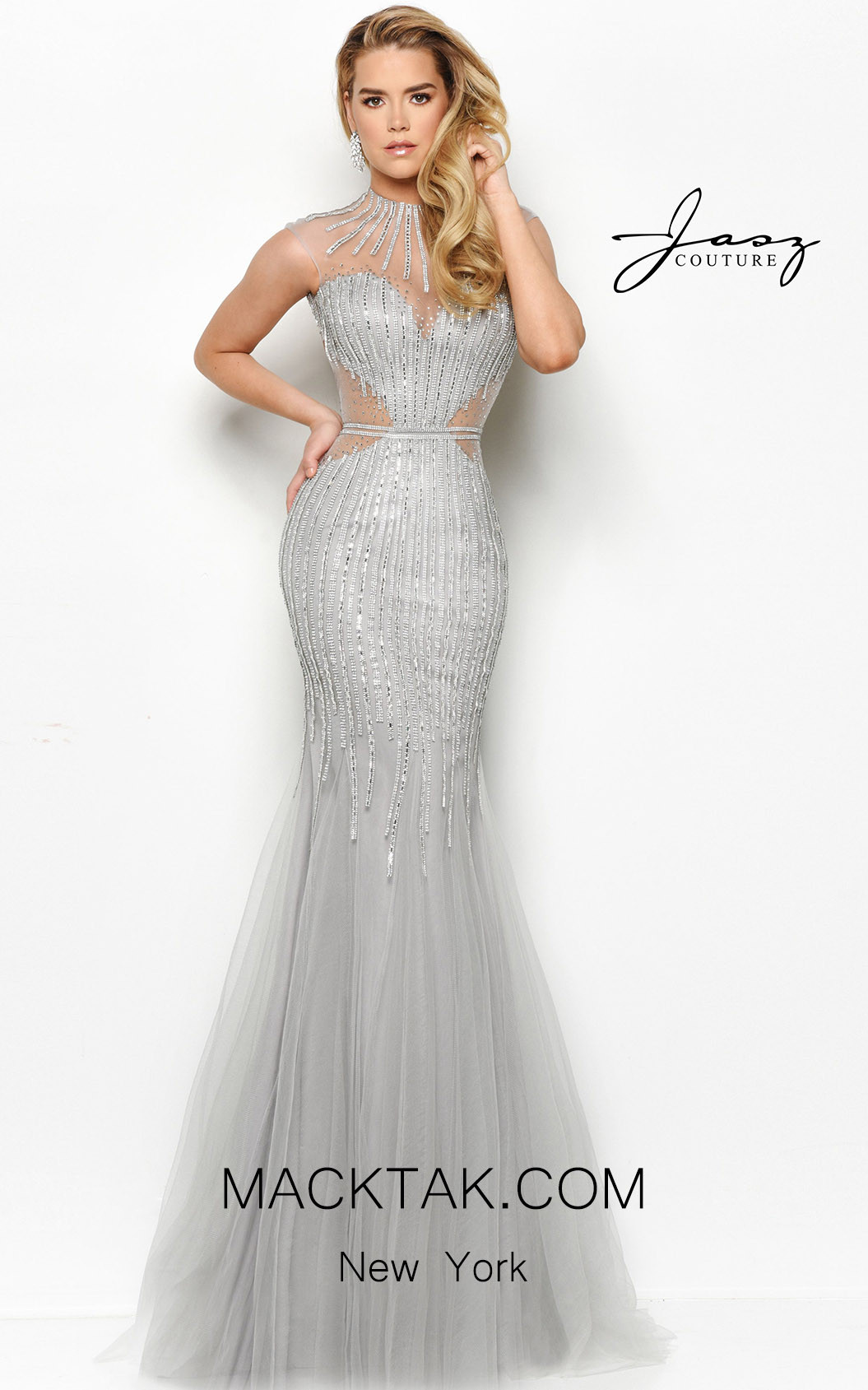 Jasz Couture 7099 Silver Front Dress