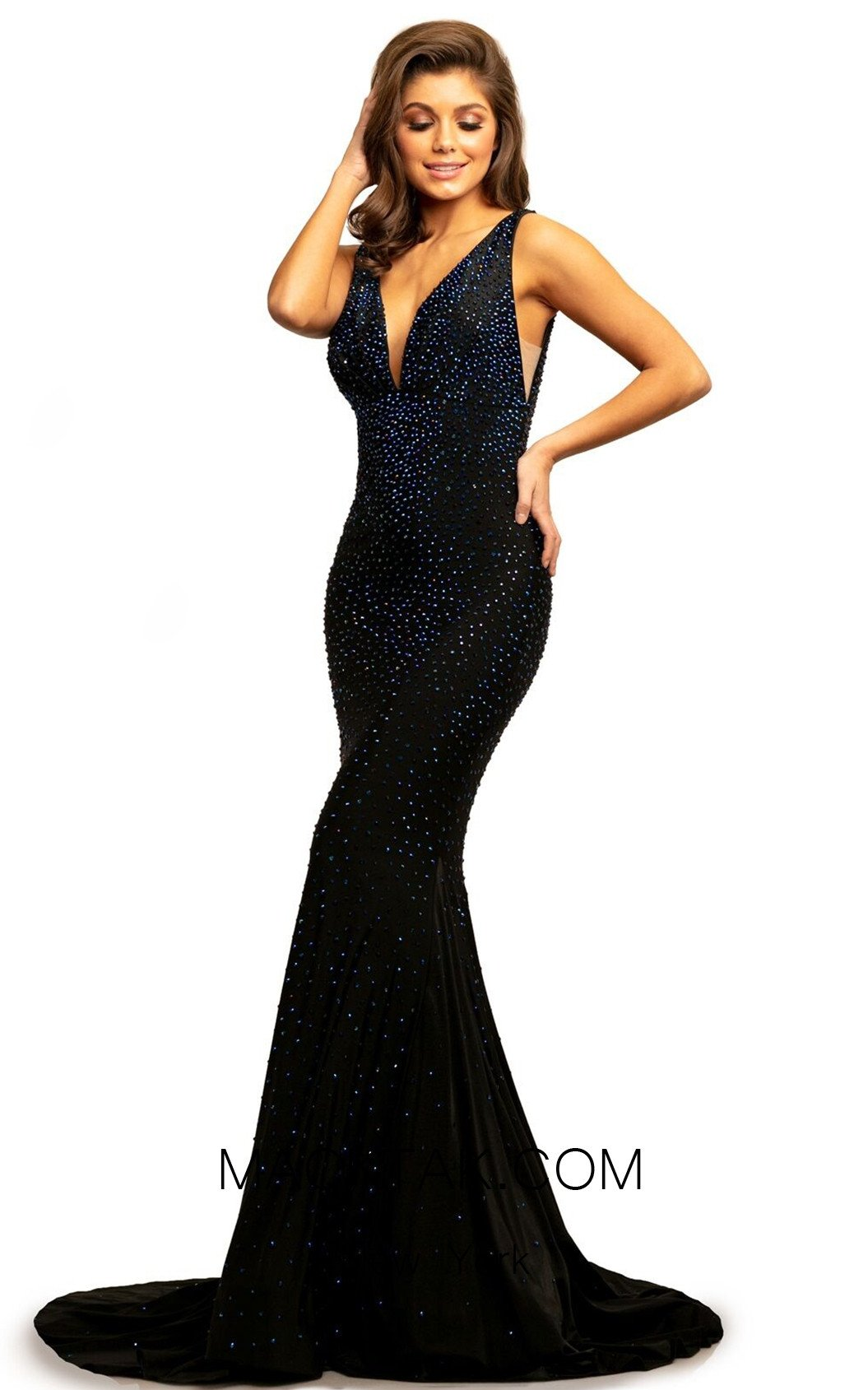 Johnathan Kayne 9213 Black Front Dress