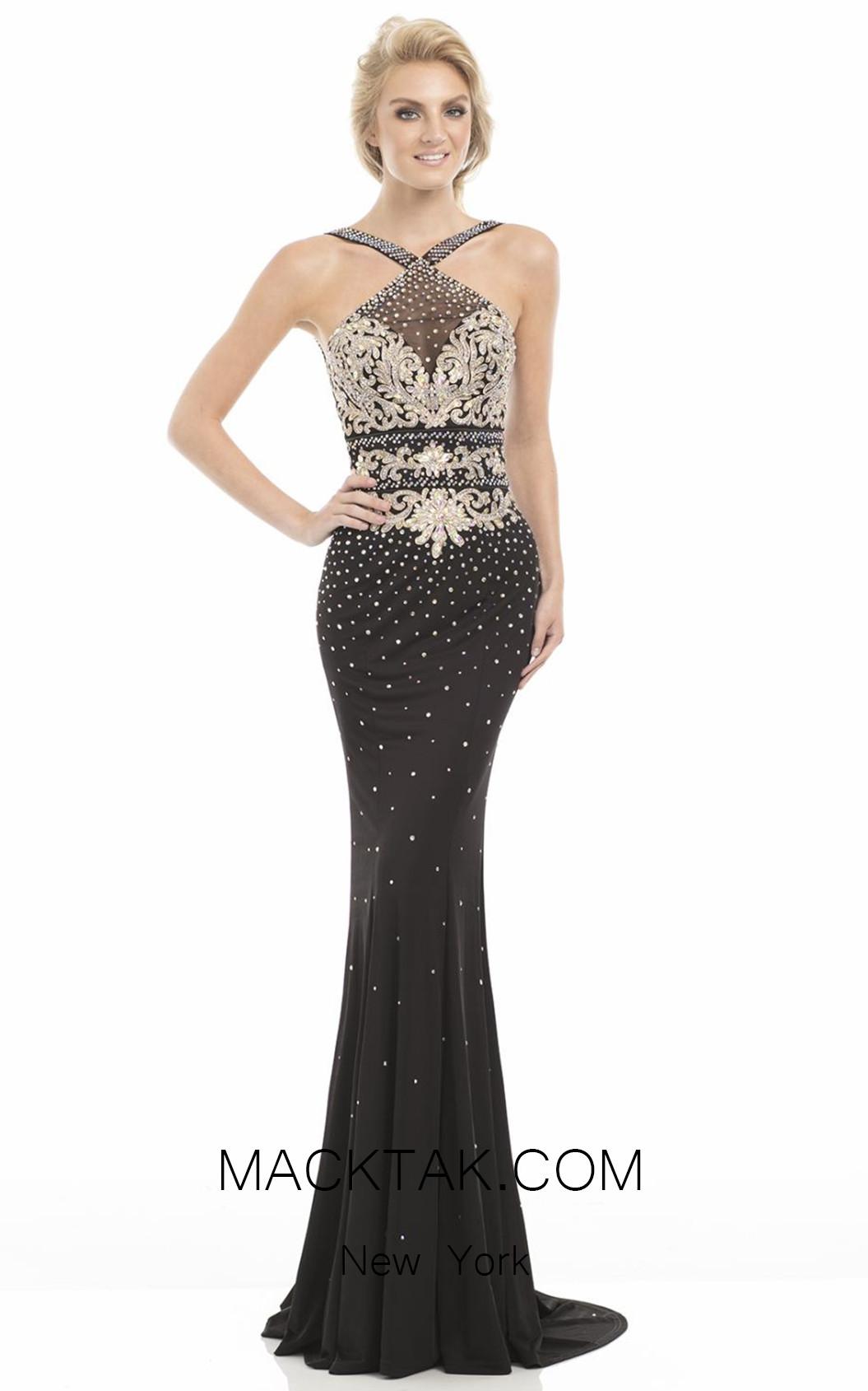Johnathan Kayne 7079 Black Gold Front Dress