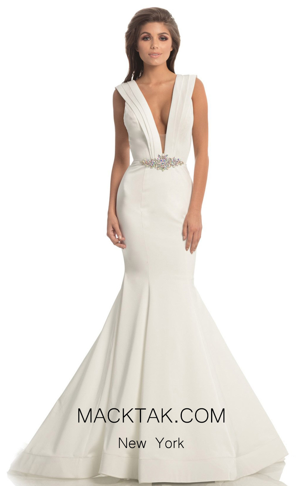 Johnathan Kayne 8204 White Front Dress