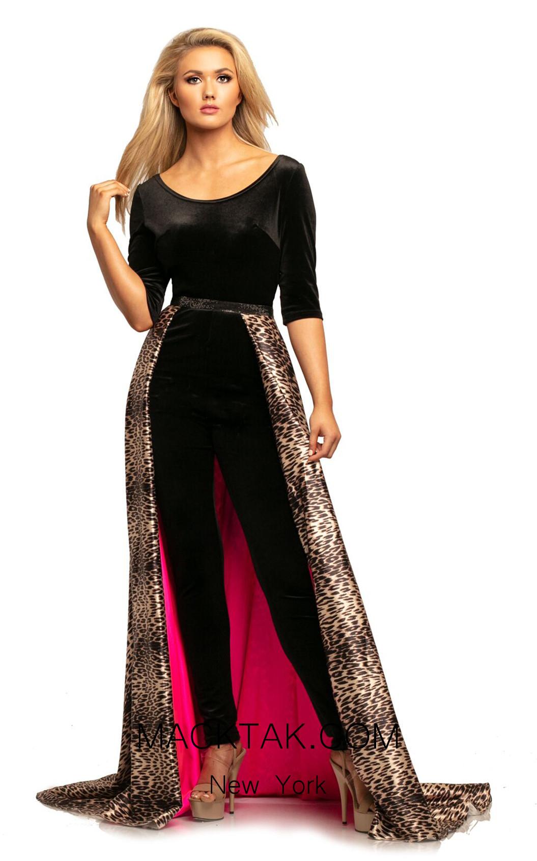 Johnathan Kayne 2029 Black Leopard Front Dress