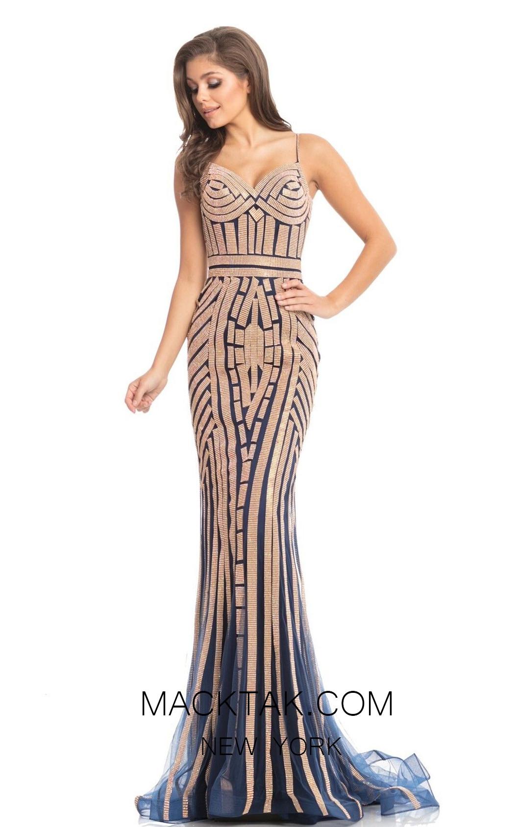 Johnathan Kayne 8210 Navy Gold Front Dress