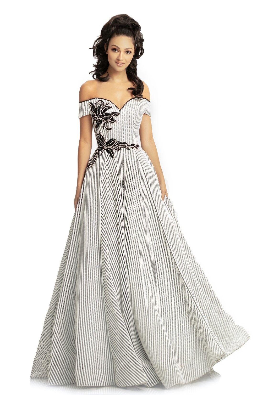 Johnathan Kayne 9048 Black White Front Dress