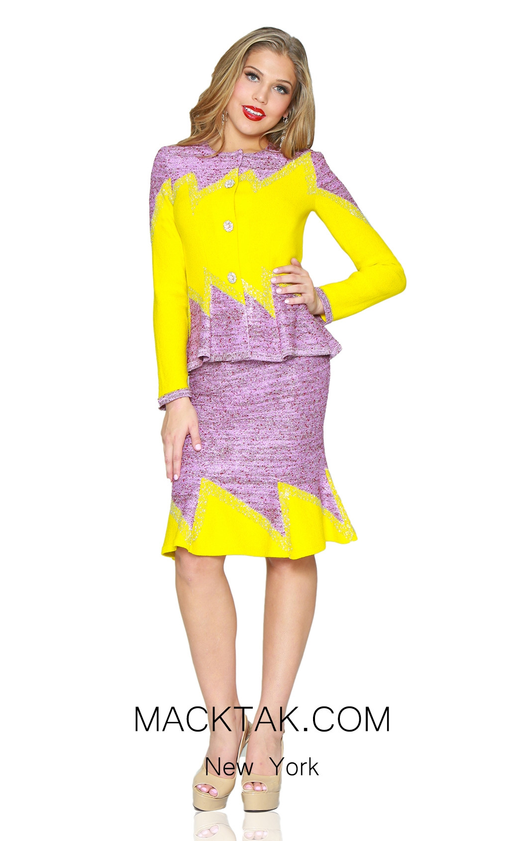 Kourosh 4886 Knit Yellow Pink Front Suit