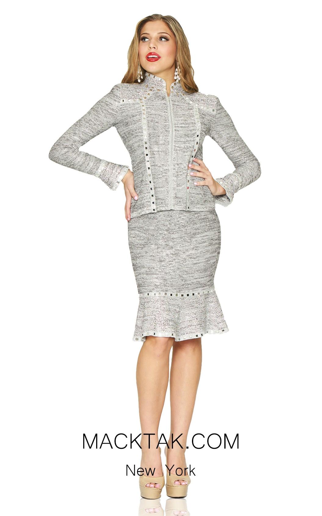 Kourosh 4913 Silver Front Knit Suit