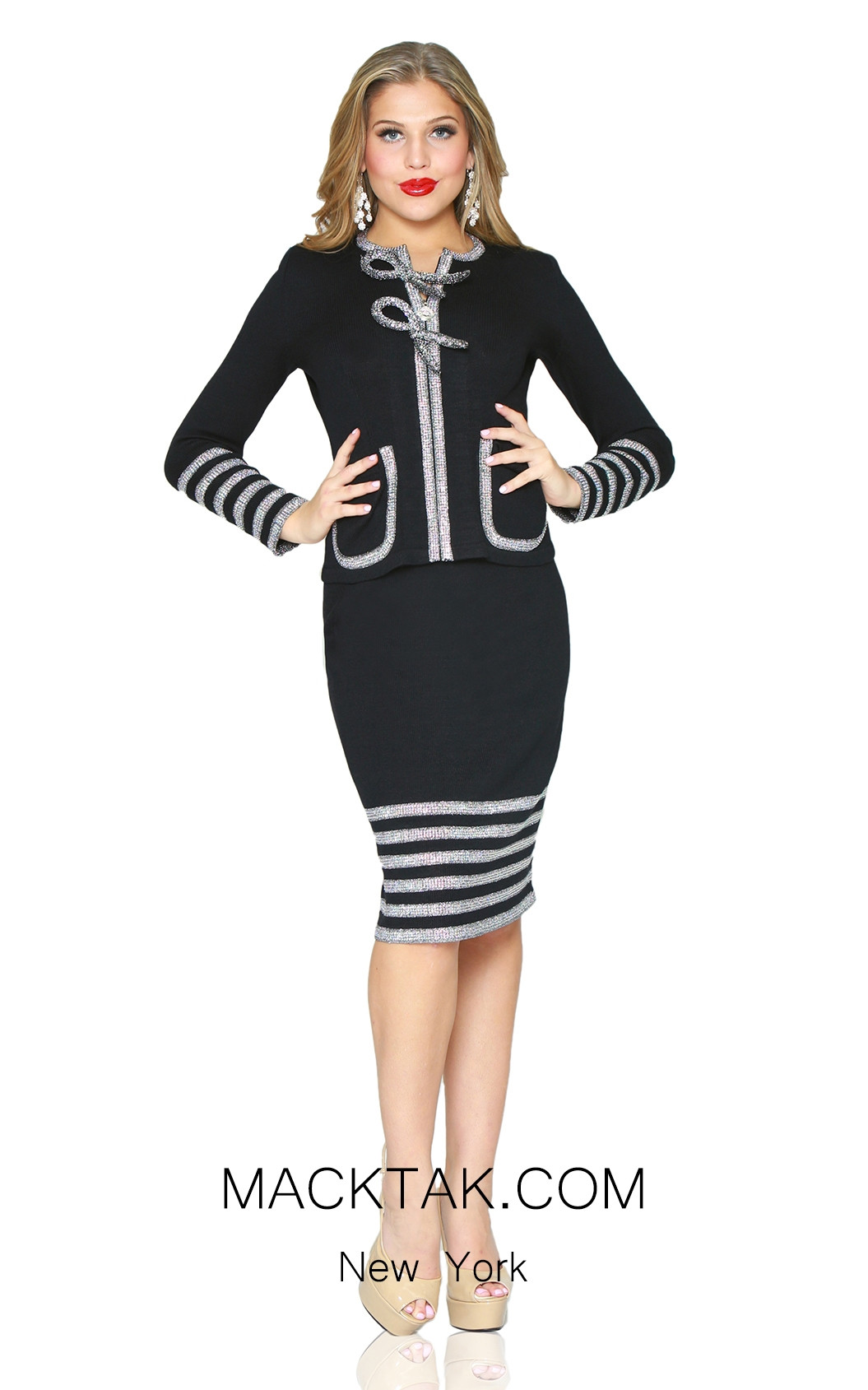 Kourosh 4959 Black Silver Front Knit Suit