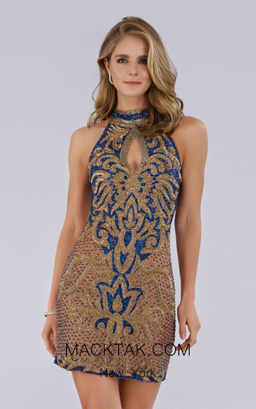 Lara 29743 Gold/Blue Front  Dress