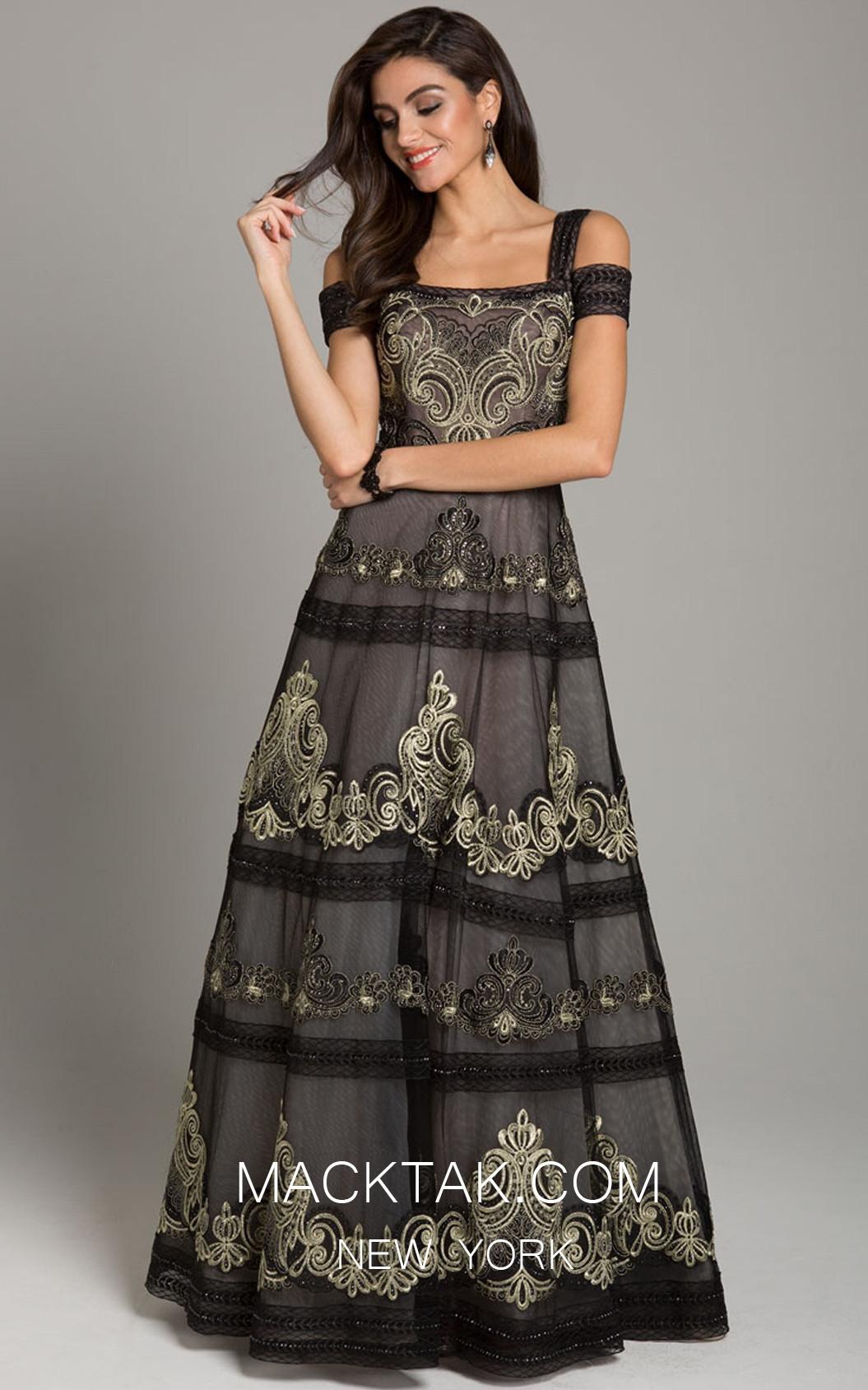Lara 29874 Black Gold Front Dress