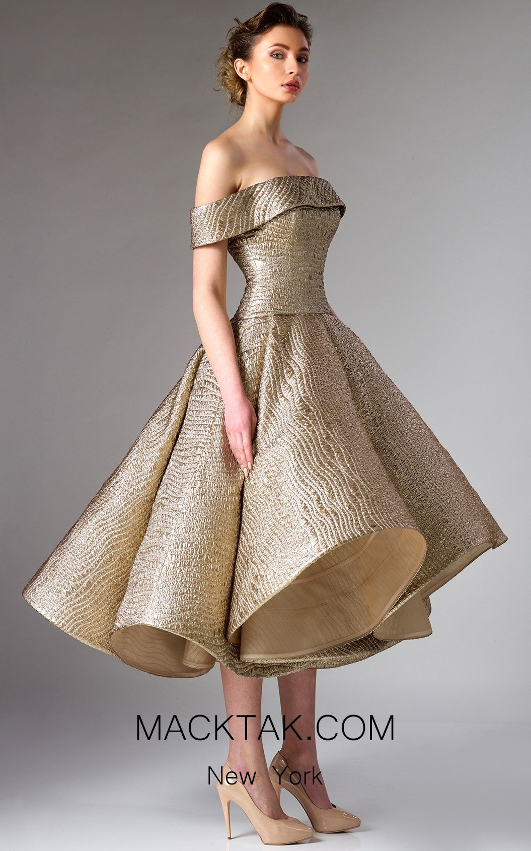 Edward Arsouni FW0281 Gold Front Dress