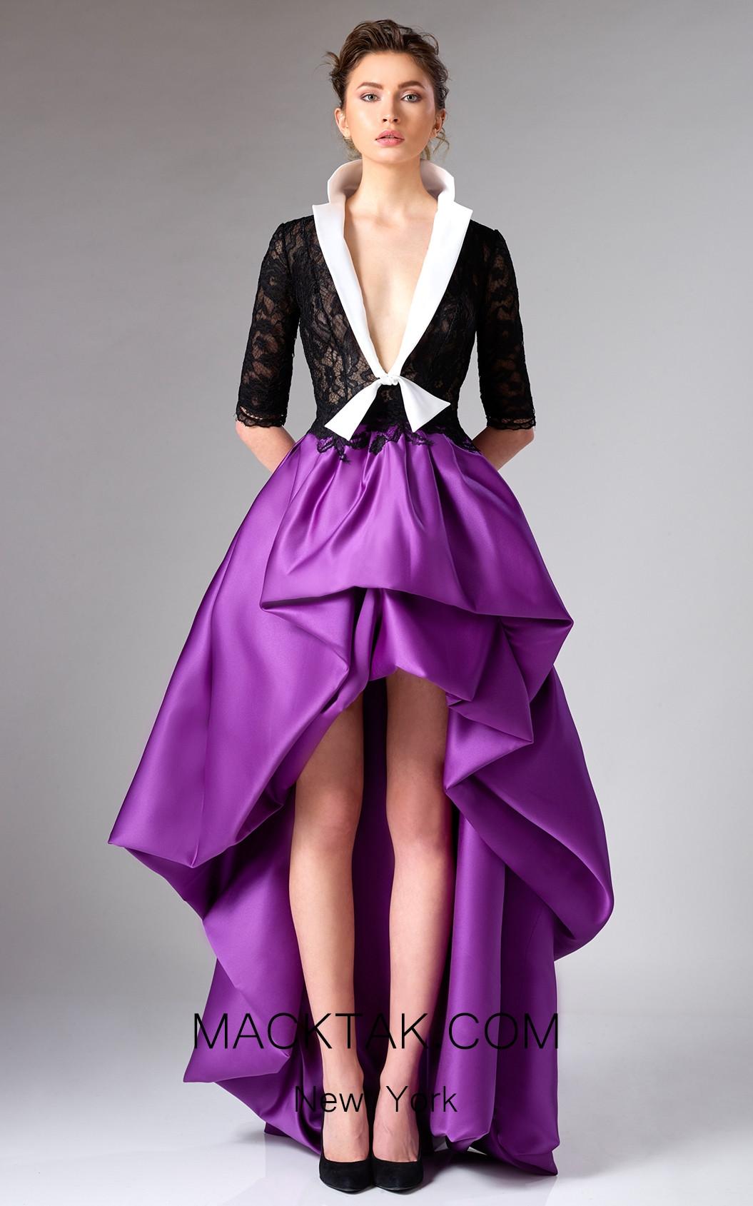 Edward Arsouni FW0302 Purple Front Dress