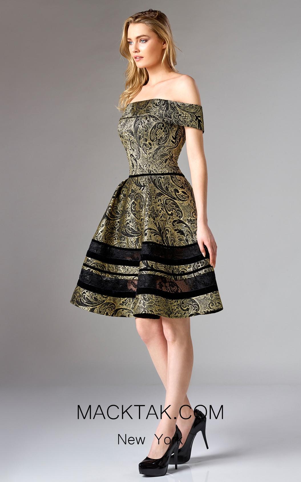 Edward Arsouni FW0321 Black Gold Front Dress