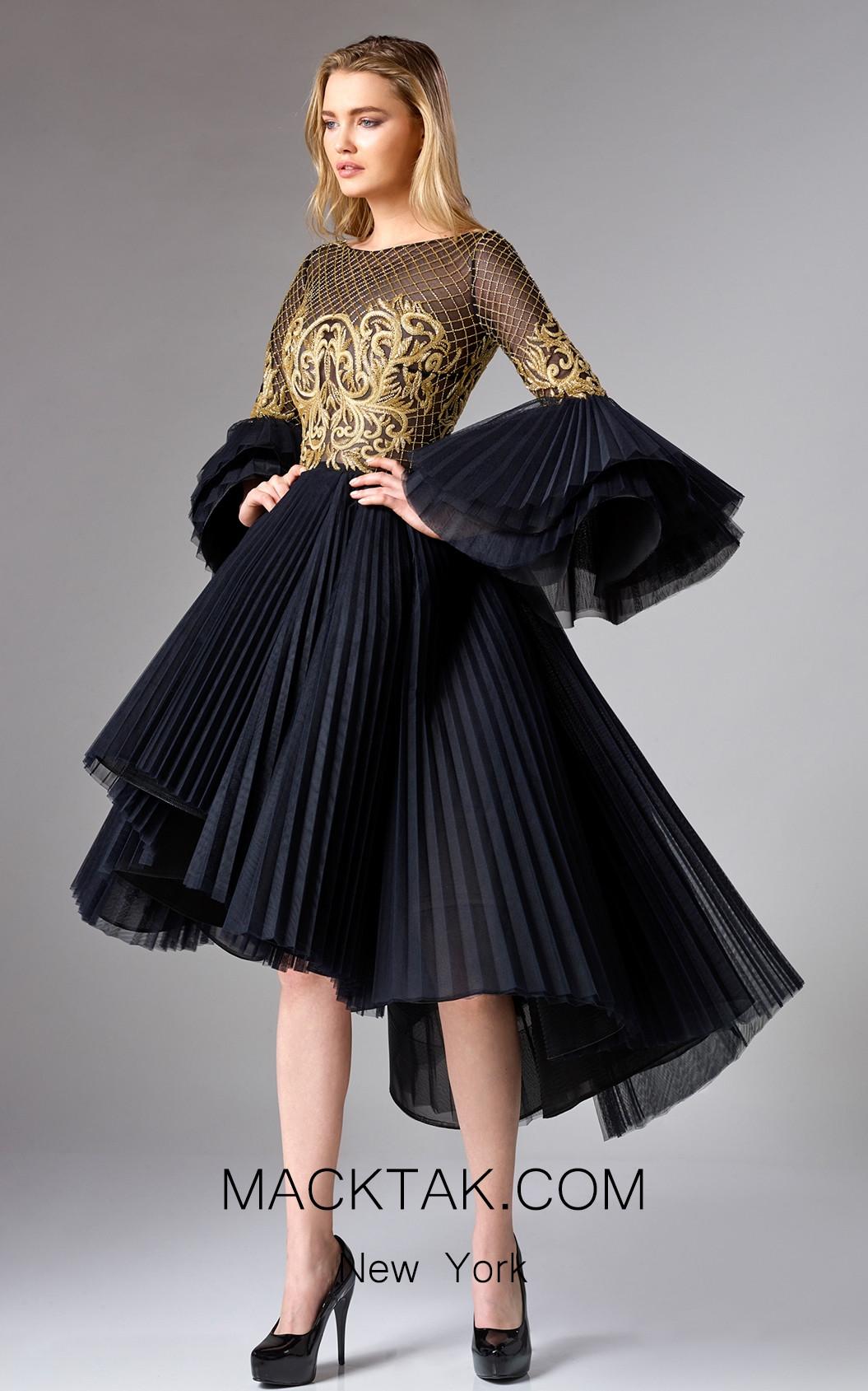 Edward Arsouni FW0328 Black Gold Front Dress