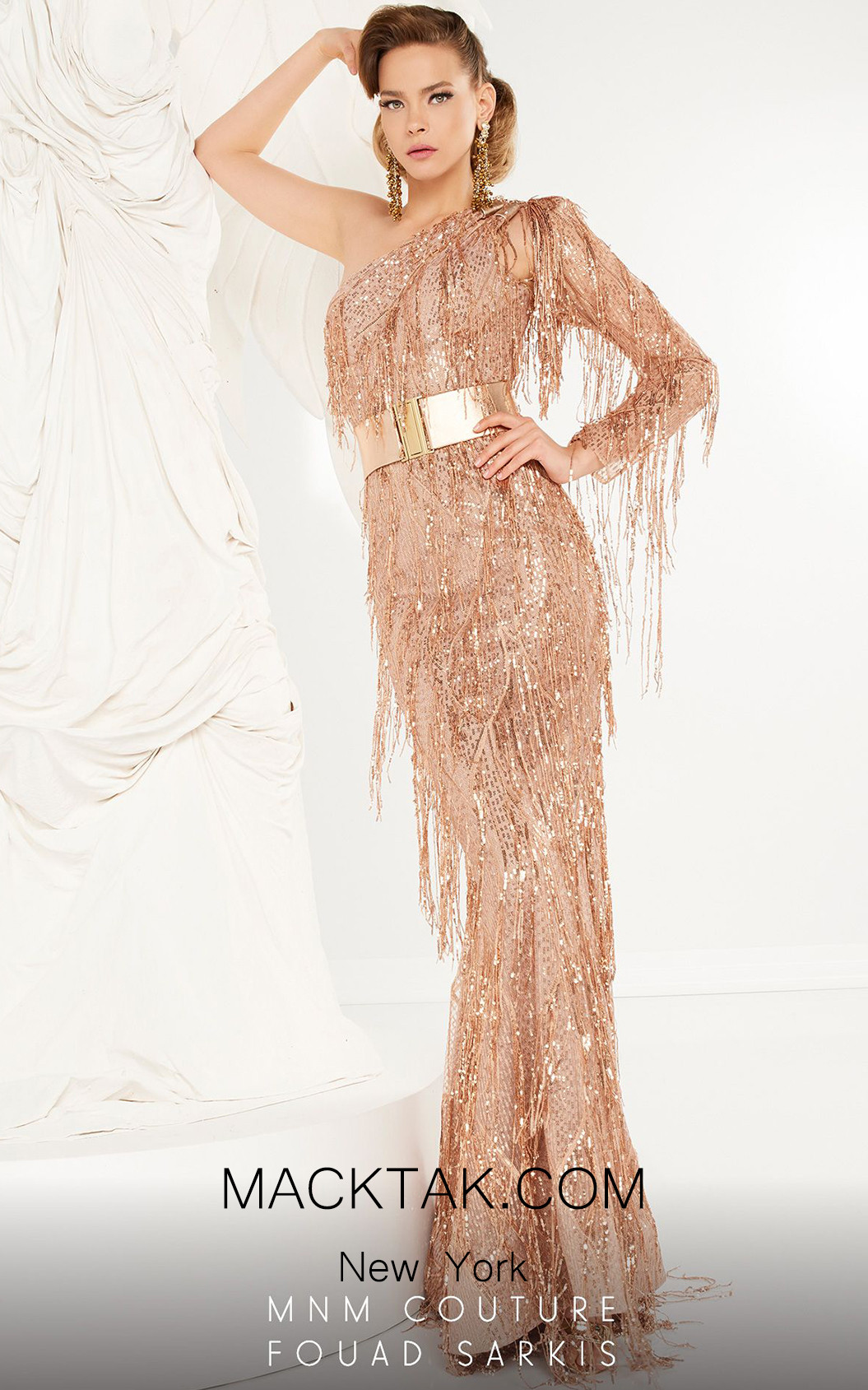 MNM Couture 2552 Champagne Front Dress