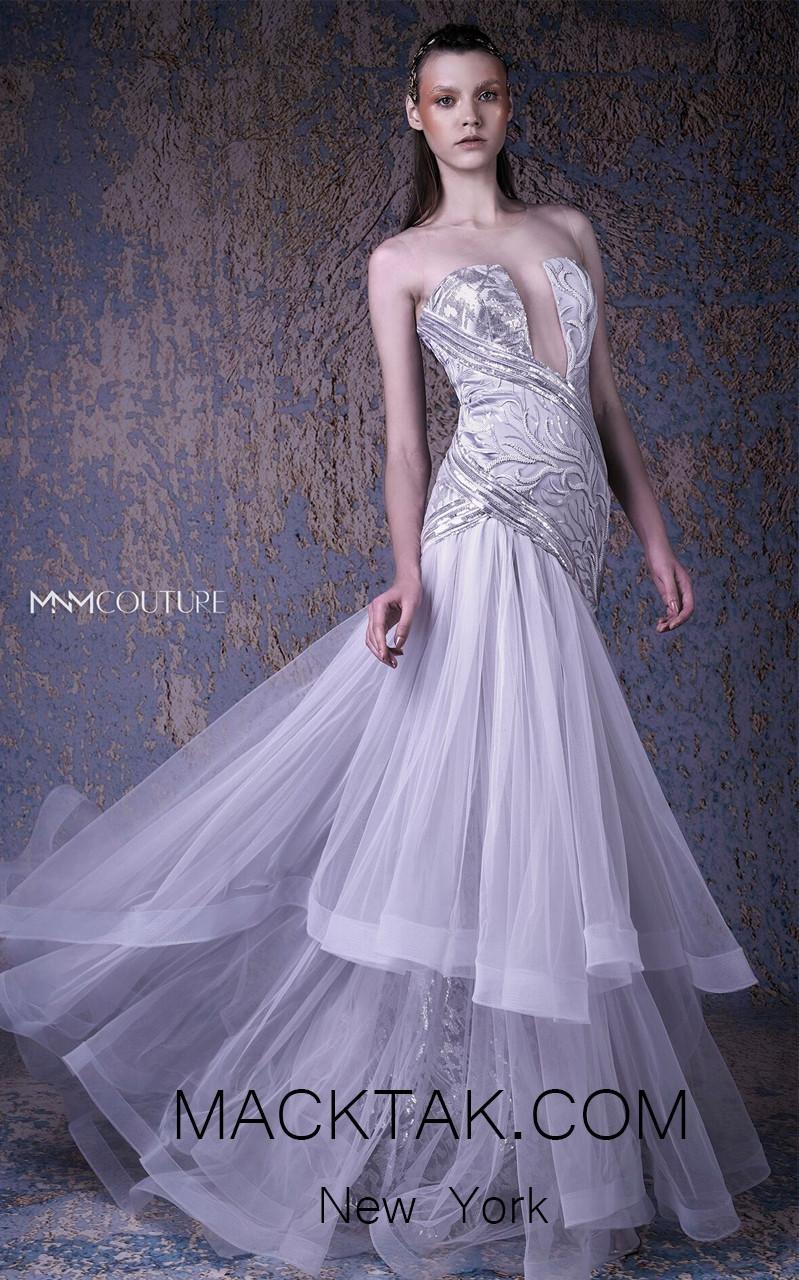 MNM G1026 Silver Front Evening Dress