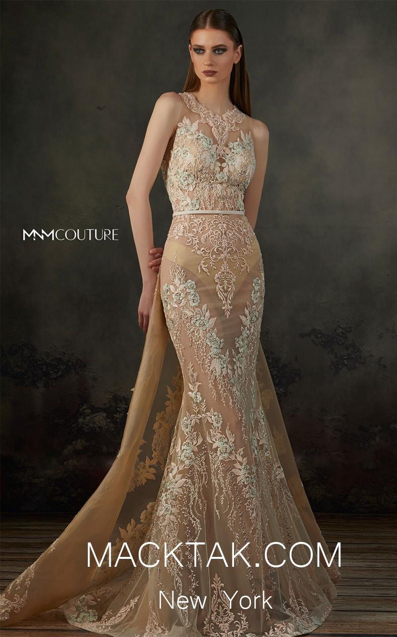 MNM K3692 Beige Front Evening Dress