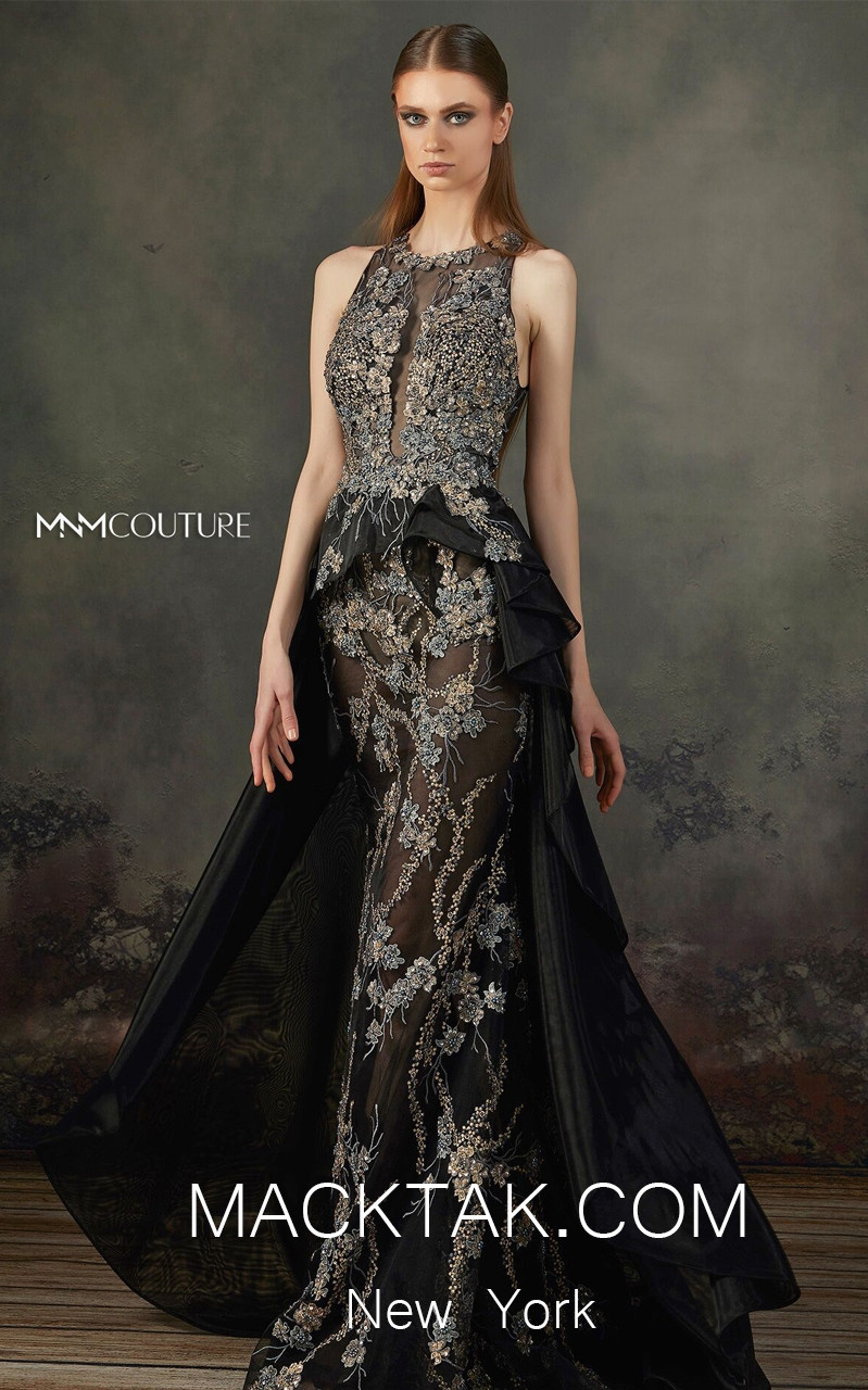MNM K3696 Black Front Evening Dress
