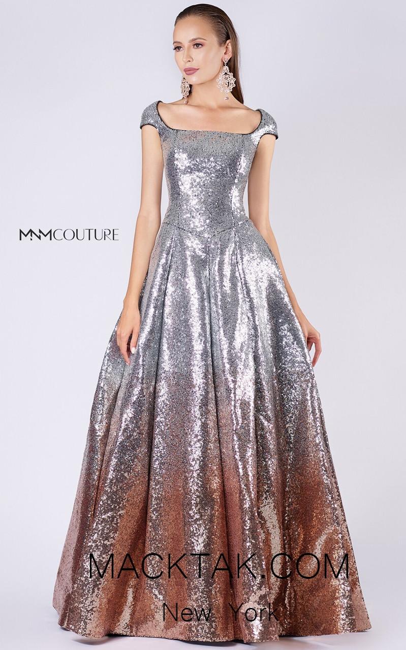 MNM M0052 Silver Front Evening Dress