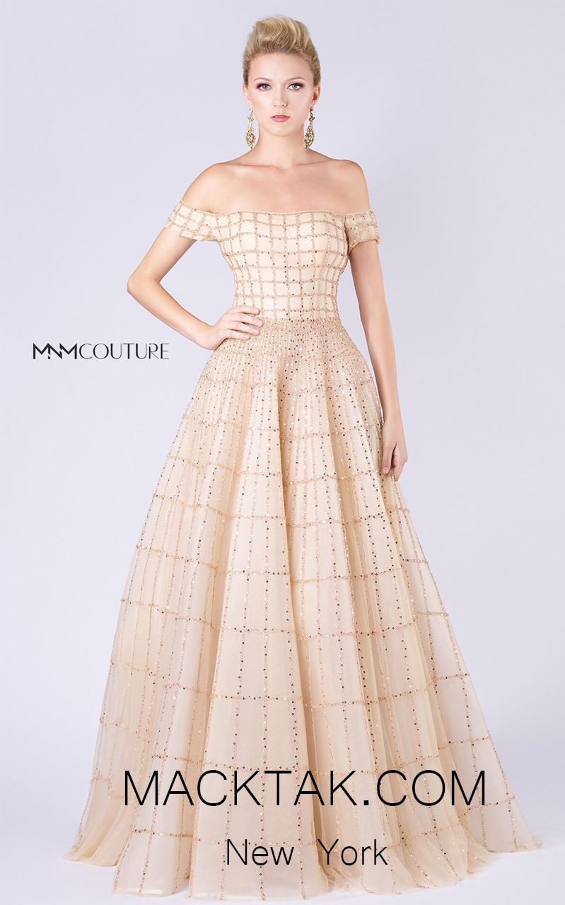 MNM M0057 Gold Front Evening Dress