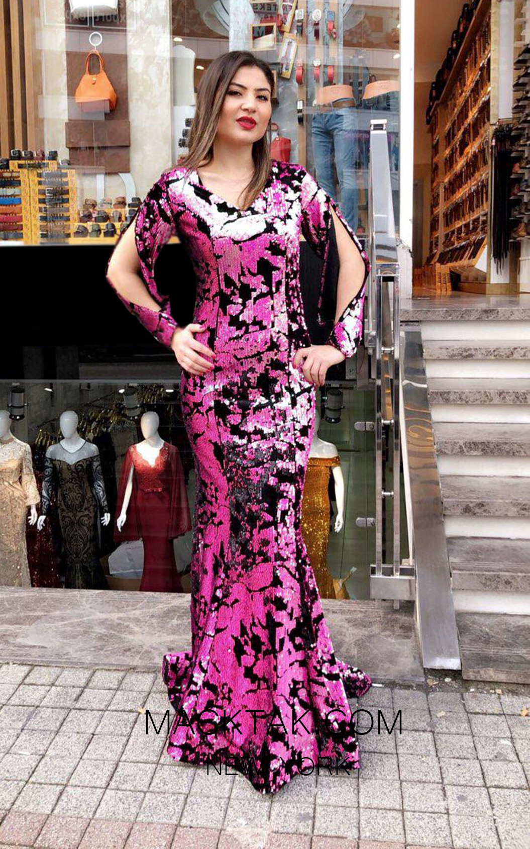 TK MT3953 Pink Front Evening Dress