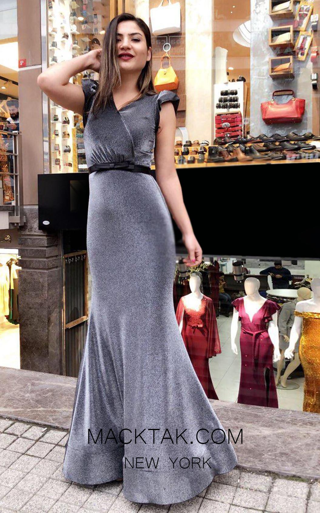 TK MT3959 Gray Front Prom Dress