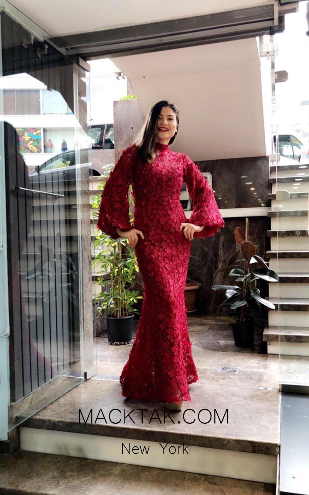 TK MT3966 Bordo Front Evening Dress