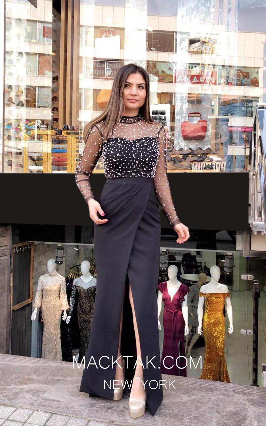 TK MT3991 Black Front Prom Dress
