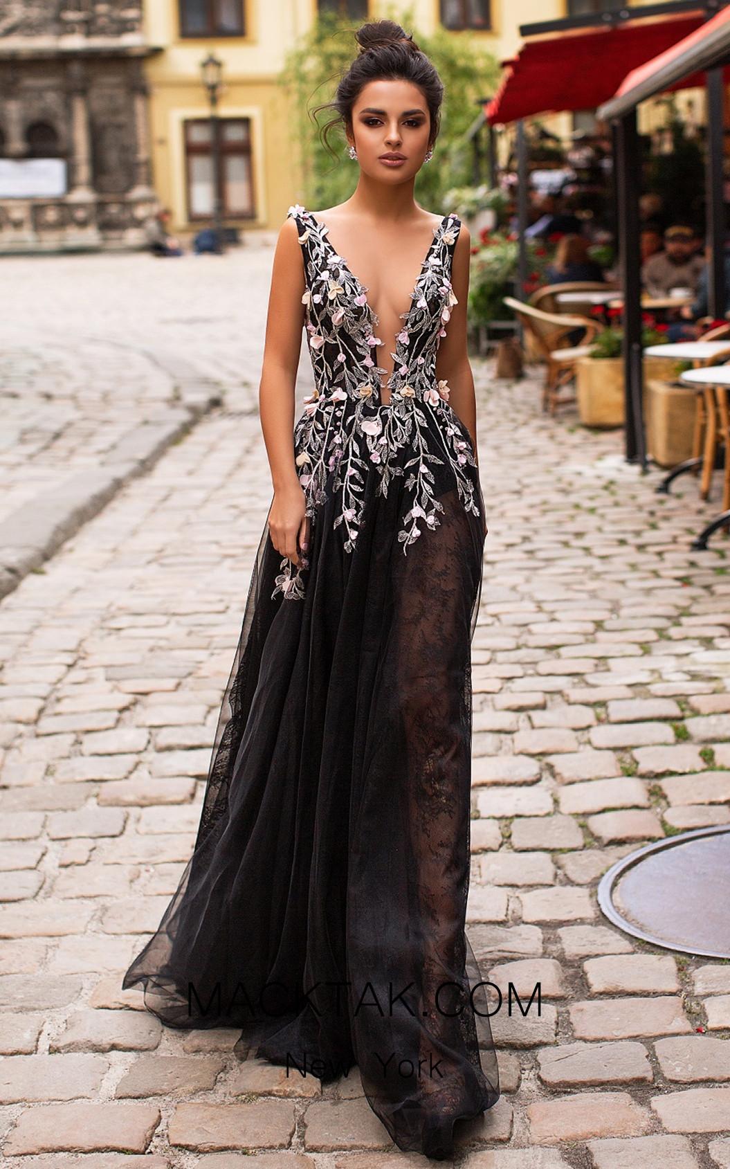 Pollardi Orabelle 5052 Black Front Dress