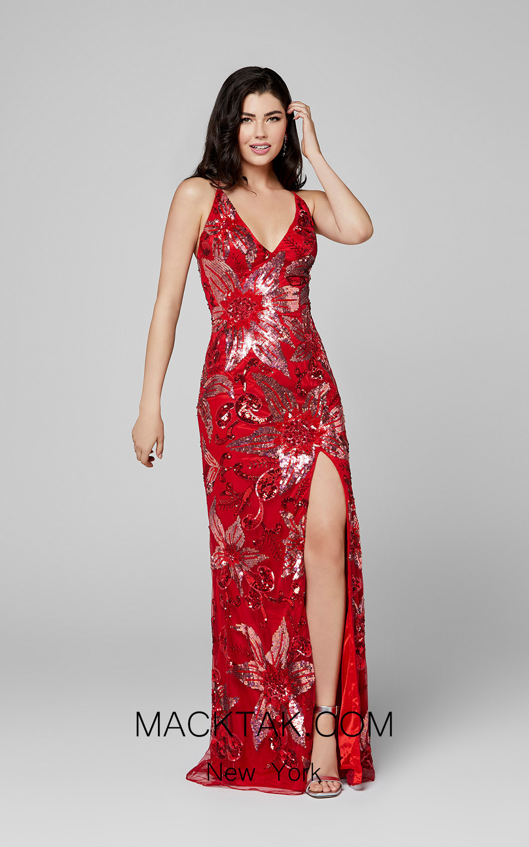 Primavera Couture 3401 Red Front Dress