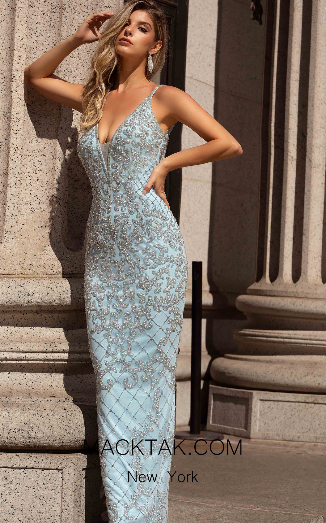 Primavera Couture 3433 Power Blue Front Dress