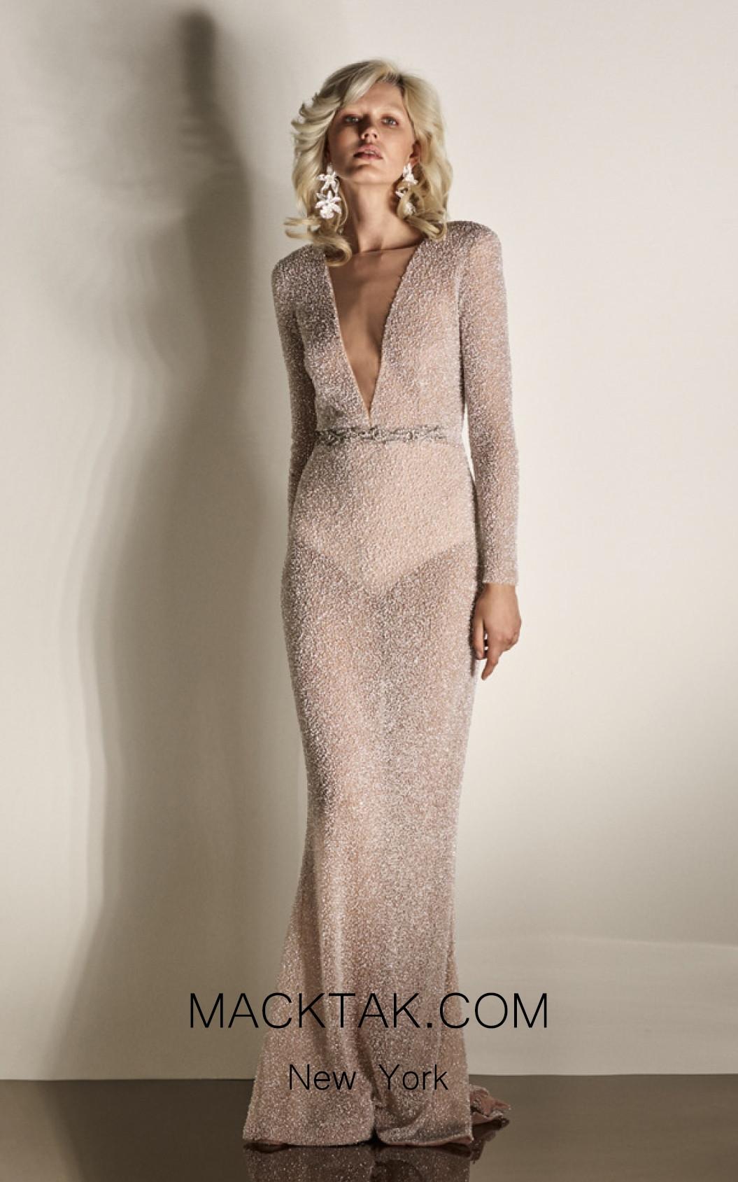 Rachel Gilbert RG60429 Ivory Front Evening Dress