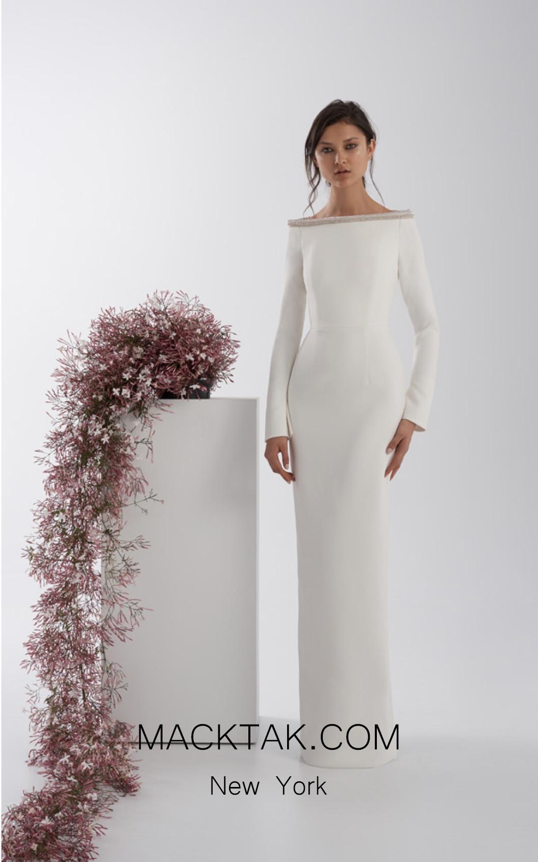 Rachel Gilbert RG60538 Ivory Front Evening Dress