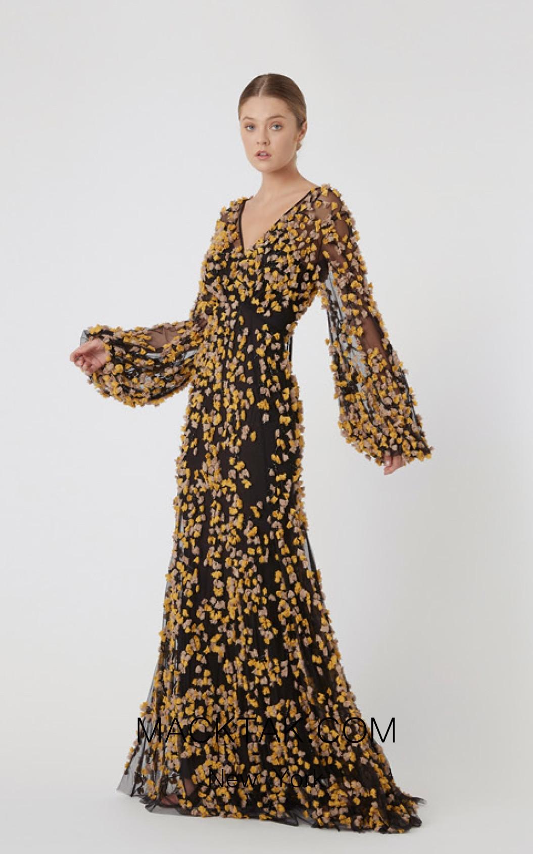 Rachel Gilbert RG60637 Black Front Evening Dress