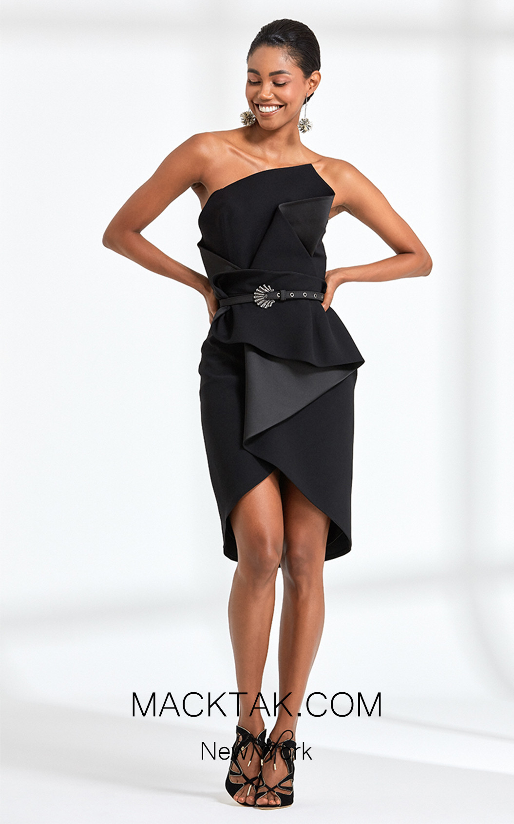 Rengin 5597 Black Front Dress