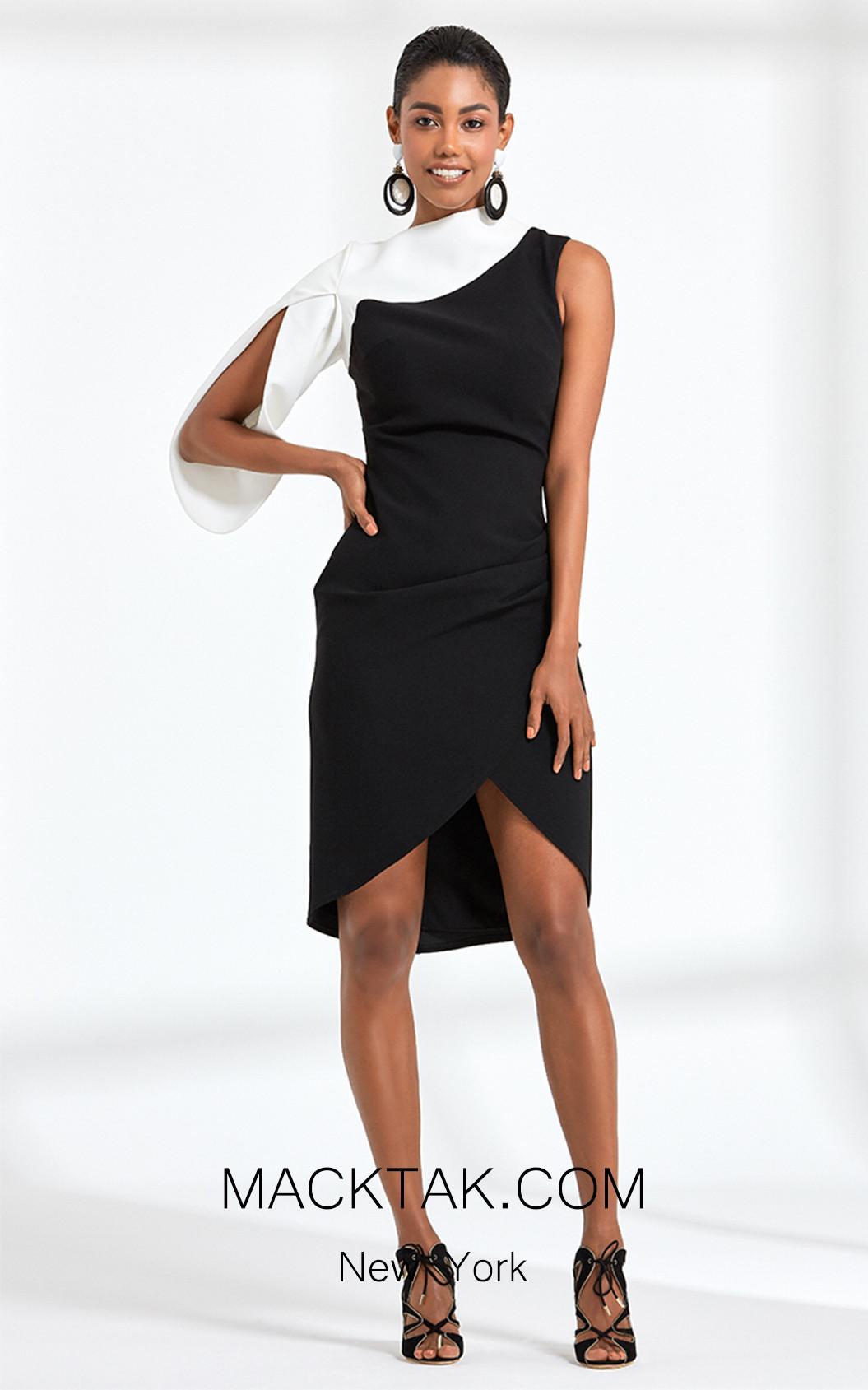 Rengin 5598 Black Front Dress