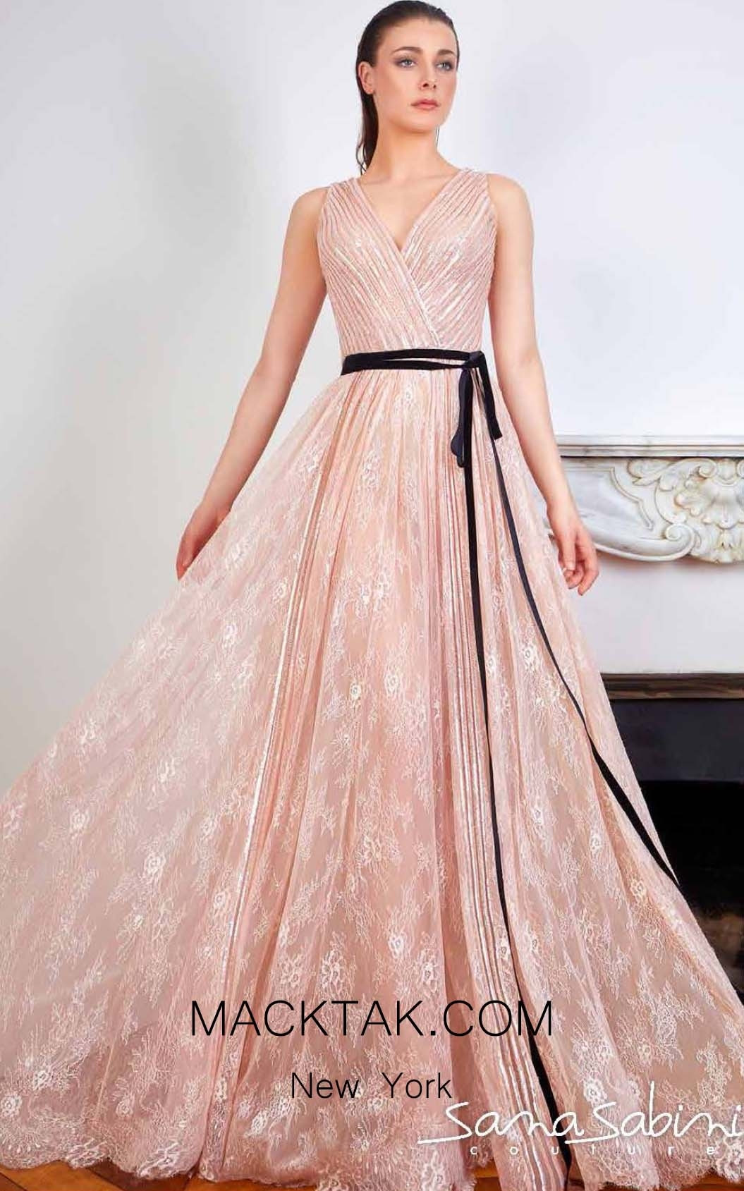 Sana Sabini 9231B Peach Front Evening Dress