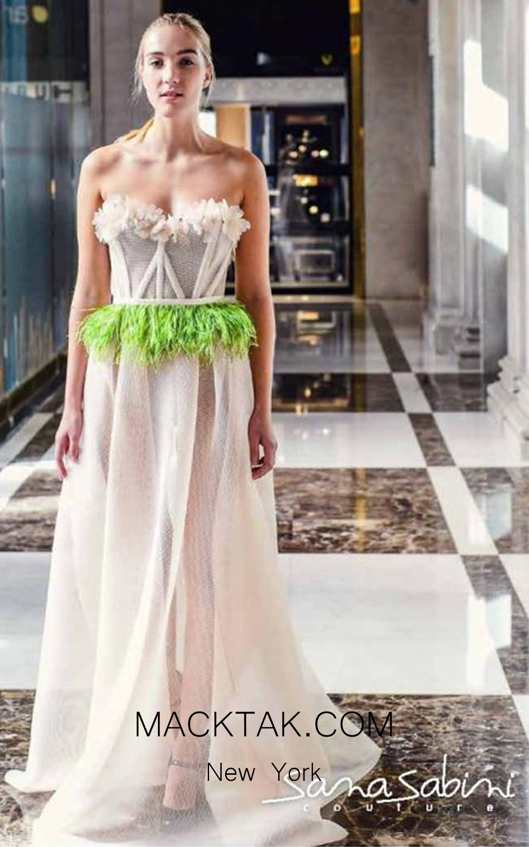 Sana Sabini 9279 Peach Front Evening Dress