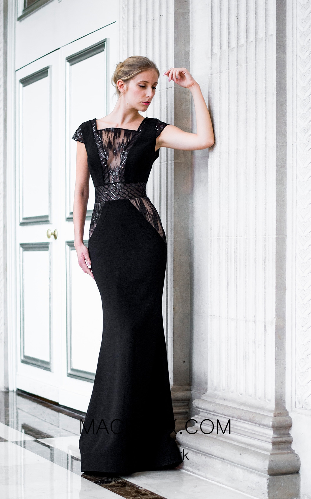 Sana Sabini 9292 Black Front Evening Dress