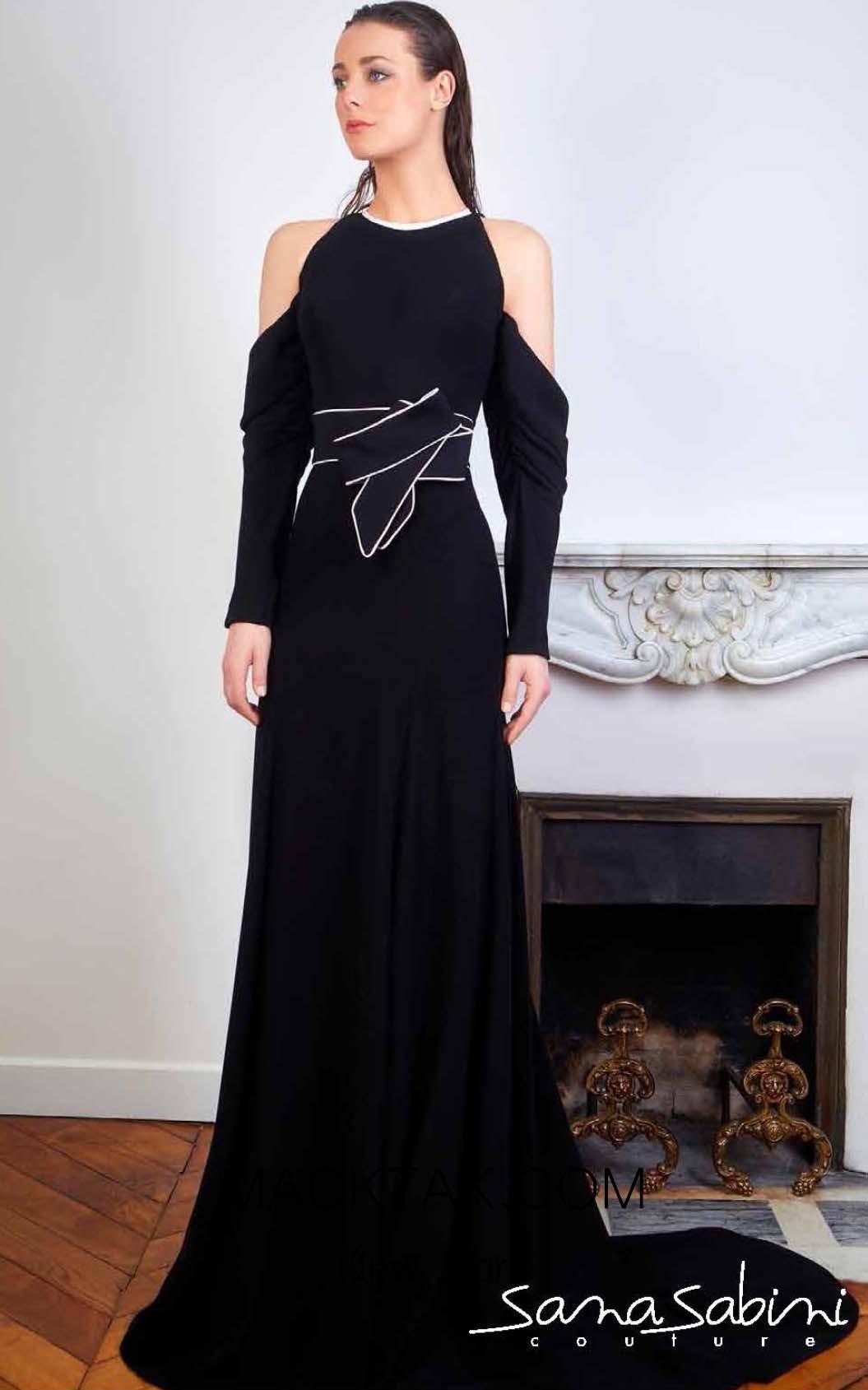 Sana Sabini 9349 Black White Front Evening Dress