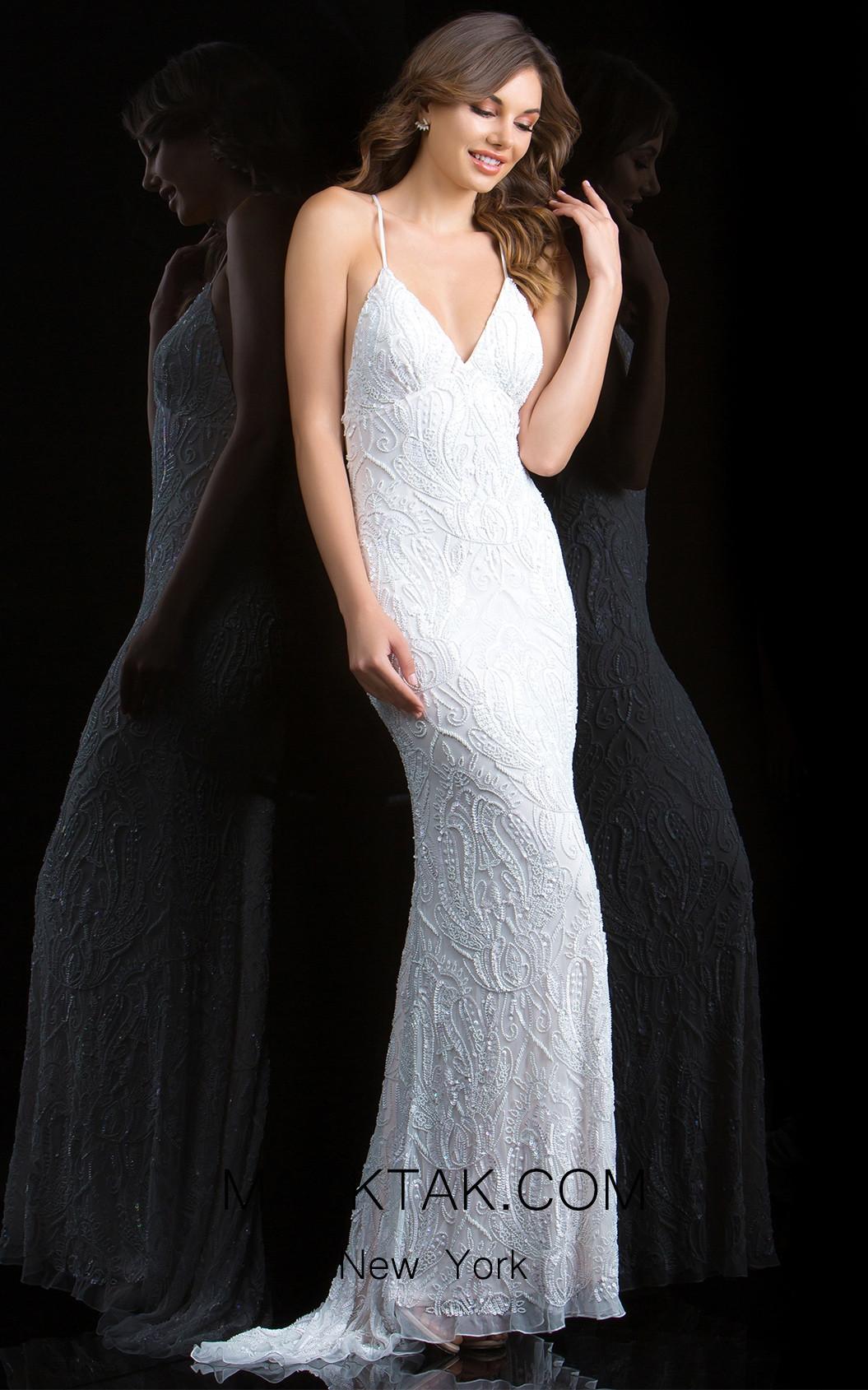 Scala 48710 Ivory Front Evening Dress