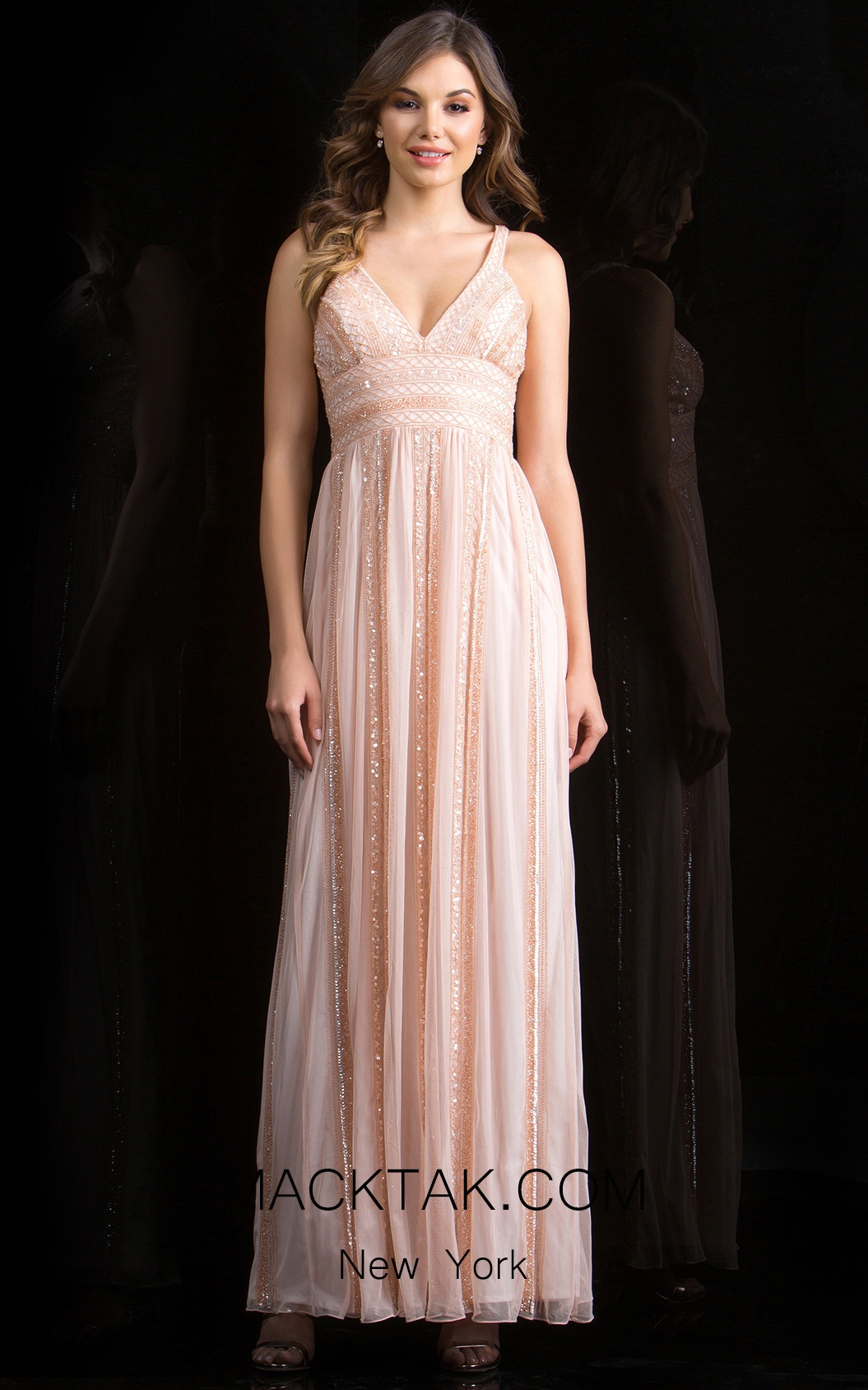 Scala 48812 Blush Front Evening Dress